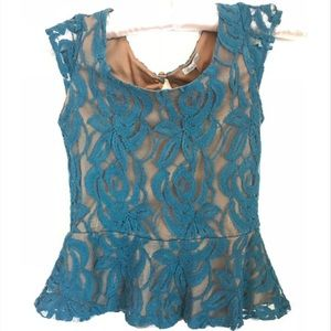 Charlotte Russe Size XS Turquoise Peplum Lace Top